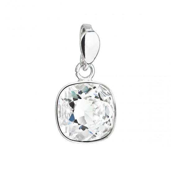 Stříbrný přívěsek s krystalem Swarovski bílý čtverec 34224.1