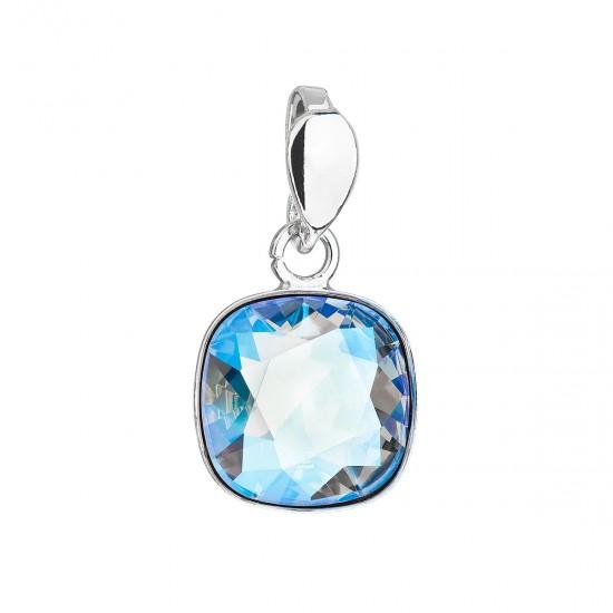 Stříbrný přívěsek s krystalem Swarovski modrý čtverec 34224.3 light sapphire shimmer