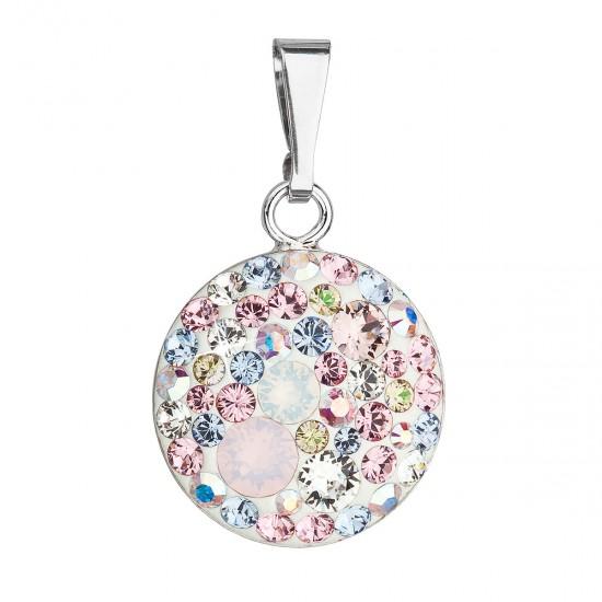 Stříbrný přívěsek s krystaly Swarovski mix barev kulatý 34225.3 magic rose