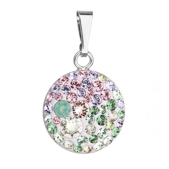 Stříbrný přívěsek s krystaly Swarovski mix barev kulatý 34225.3 sakura