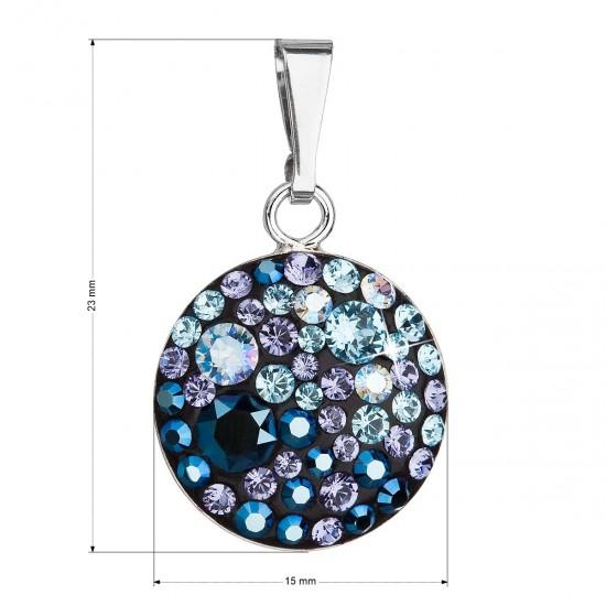 Stříbrný přívěsek s krystaly Swarovski modrý kulatý 34225.3 blue style