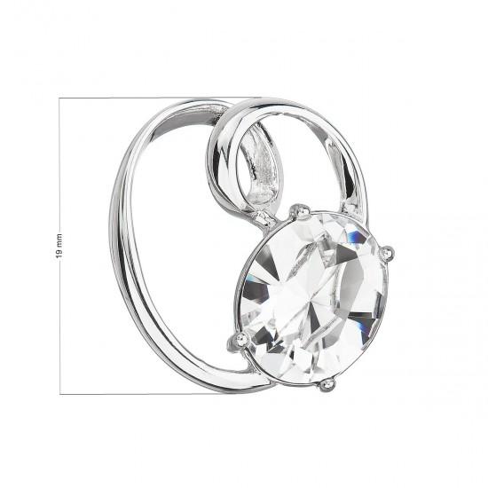 Stříbrný přívěsek s krystalem Swarovski bílý ovál 34228.1
