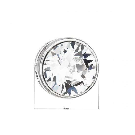 Stříbrný přívěsek s krystalem Swarovski bílý kulatý 34231.1