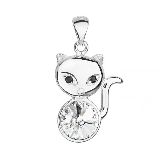 Stříbrný přívěsek s krystalem Swarovski bílá kočka 34235.1