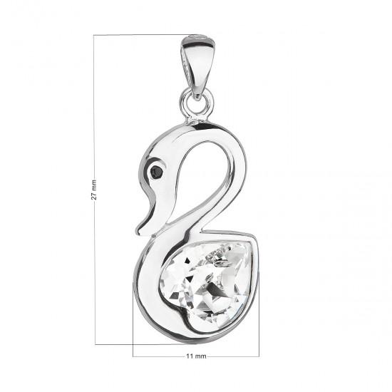 Stříbrný přívěsek s krystalem Swarovski bílá labuť 34237.1