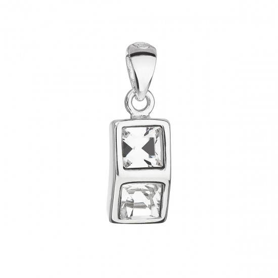 Stříbrný přívěsek s krystaly Swarovski bílá kostička 34238.1