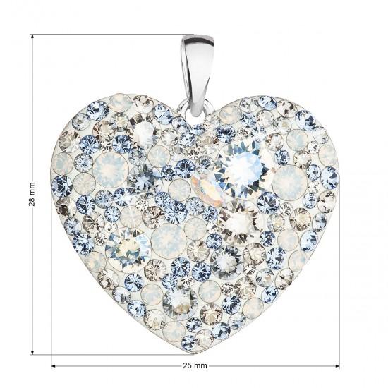 Stříbrný přívěsek s krystaly Swarovski modré srdce 34243.3 light sapphire