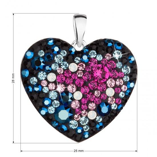 Stříbrný přívěsek s krystaly Swarovski mix barev srdce 34243.3 galaxy