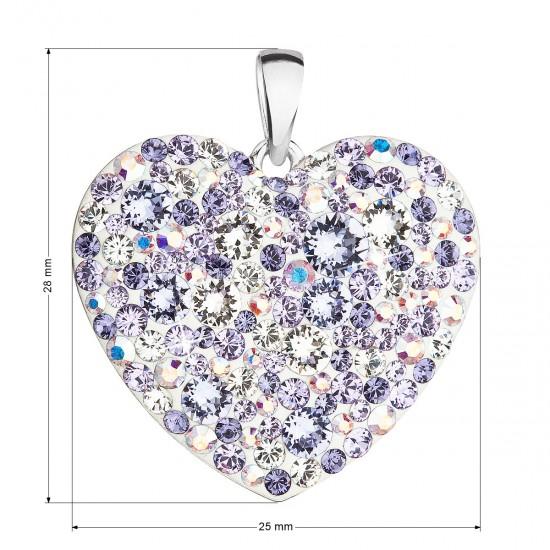 Stříbrný přívěsek s krystaly Swarovski mix barev srdce 34243.3 violet