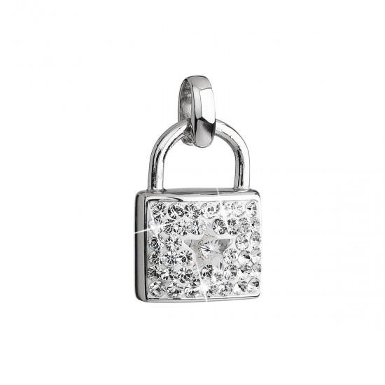 Stříbrný přívěsek s krystaly Swarovski bílý zámek 34808.1