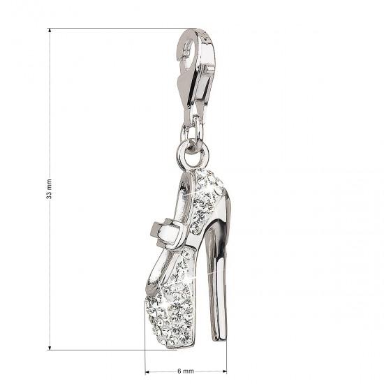 Stříbrný přívěsek s krystaly bílá bota 34816.1