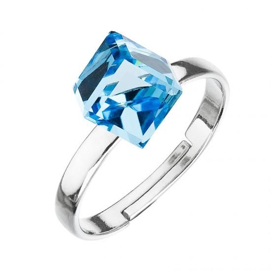 Stříbrný prsten s krystaly modrá kostička 35011.3