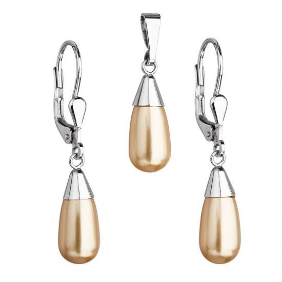 Sada šperků s perlami Swarovski náušnice a přívěsek zlatá perla slza 39119.3