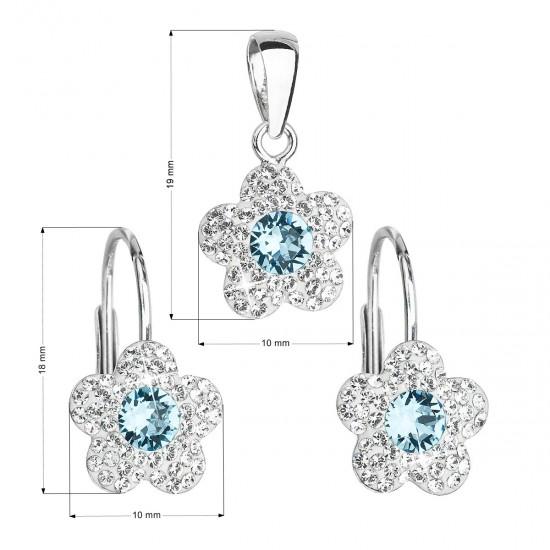 Sada šperků s krystaly Swarovski náušnice a přívěsek modrá kytička 39162.3
