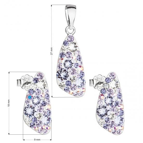 Sada šperků s krystaly Swarovski náušnice a přívěsek fialový 39167.3 violet