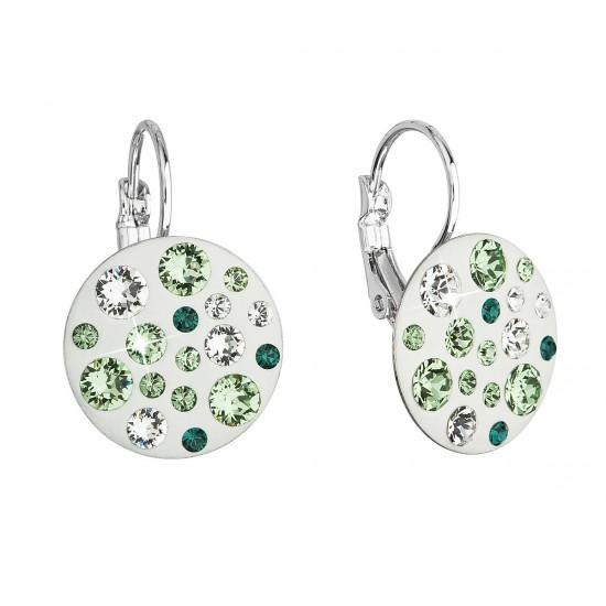 Náušnice bižuterie se Swarovski krystaly zelené kulaté 51034.3