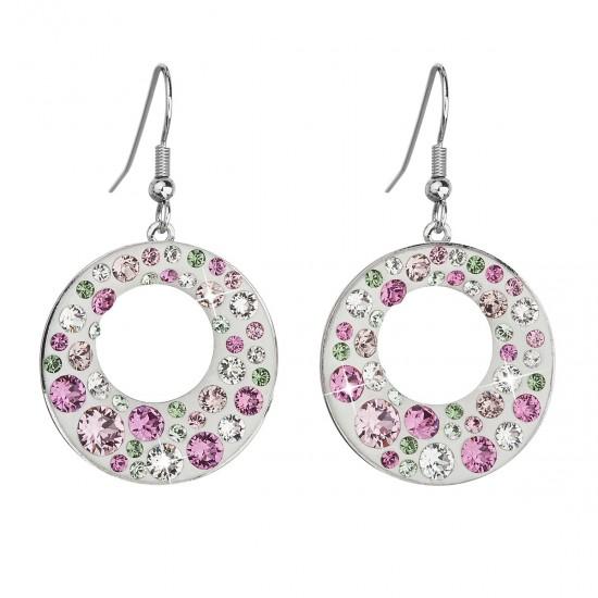 Náušnice bižuterie se Swarovski krystaly růžové kulaté 51040.3