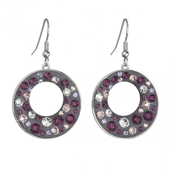 Náušnice bižuterie se Swarovski krystaly fialové kulaté 51040.3 plum