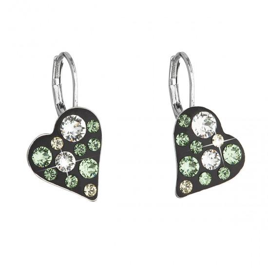 Náušnice bižuterie se Swarovski krystaly zelené srdce 51043.3
