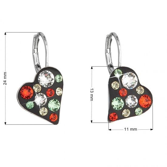 Náušnice bižuterie se Swarovski krystaly červené srdce 51043.3