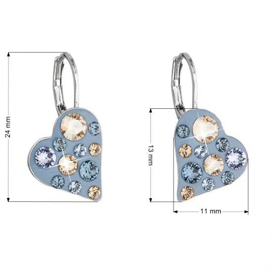 Náušnice bižuterie se Swarovski krystaly modré srdce 51043.3 denim