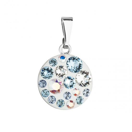 Přívěsek bižuterie se Swarovski krystaly modrý kulatý 54023.3