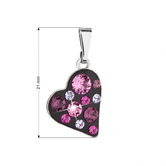 Přívěsek bižuterie se Swarovski krystaly růžové srdce 54027.3