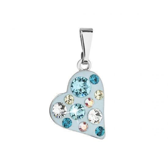 Přívěsek bižuterie se Swarovski krystaly modré srdce 54027.3 tyrkys