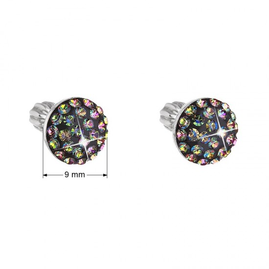 Stříbrné náušnice pecka s krystaly zelené kulaté 731136.5 vitrail medium