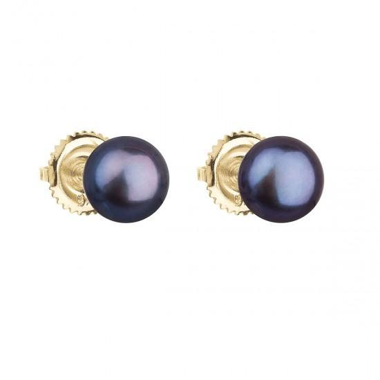 Zlaté 14 karátové náušnice pecky s modrou říční perlou 921004.3