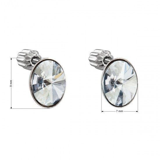 Stříbrné náušnice pecka s krystaly Swarovski modrý ovál 31274.5