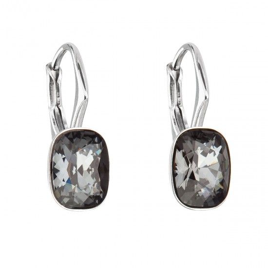 Stříbrné náušnice visací s krystaly Swarovski černý obdélník 31278.5