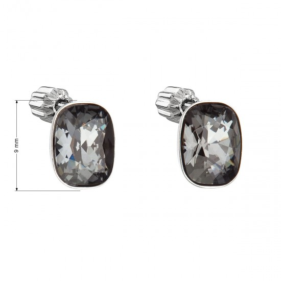 Stříbrné náušnice pecka s krystaly Swarovski černý obdélník 31279.5