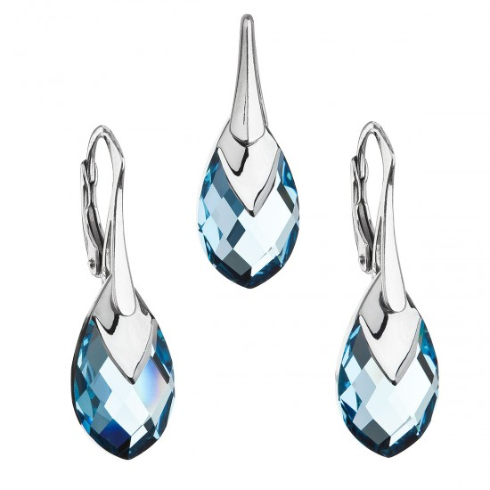 Sada šperků s krystaly Swarovski náušnice a přívěsek modrá slza 39169.4