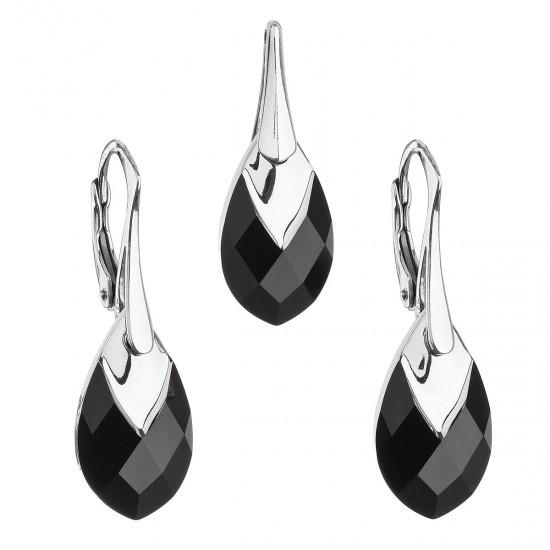 Sada šperků s krystaly Swarovski náušnice a přívěsek černá slza 39169.4