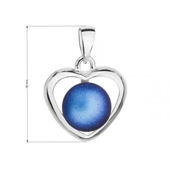 Stříbrný přívěsek s tmavěmodrou matnou Swarovski perlou srdce 34246.3