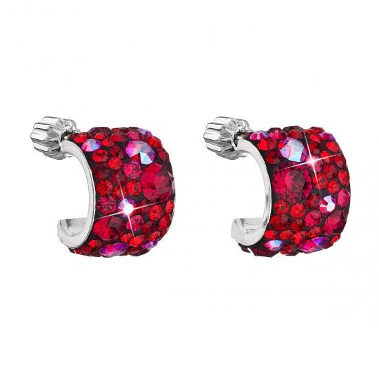 Stříbrné náušnice visací s krystaly Swarovski červený půlkruh 31280.3 cherry