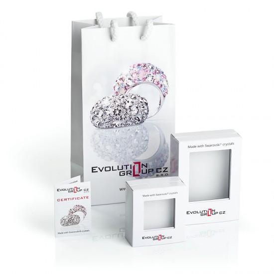 Stříbrné náušnice visací s krystaly Swarovski mix barev půlkruh 31280.3 sweet love