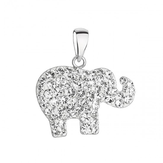 Stříbrný přívěsek s krystaly Swarovski bílý slon 34247.1