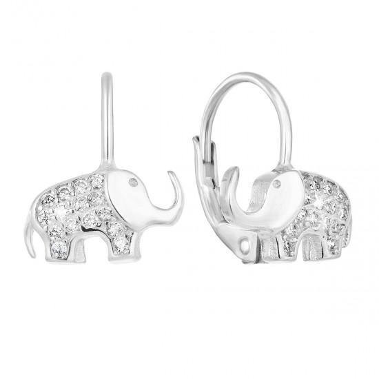 Stříbrné náušnice visací se zirkonem bílý slon 11222.1