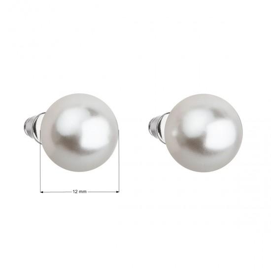 Náušnice bižuterie s perlou bílé kulaté 71069.1