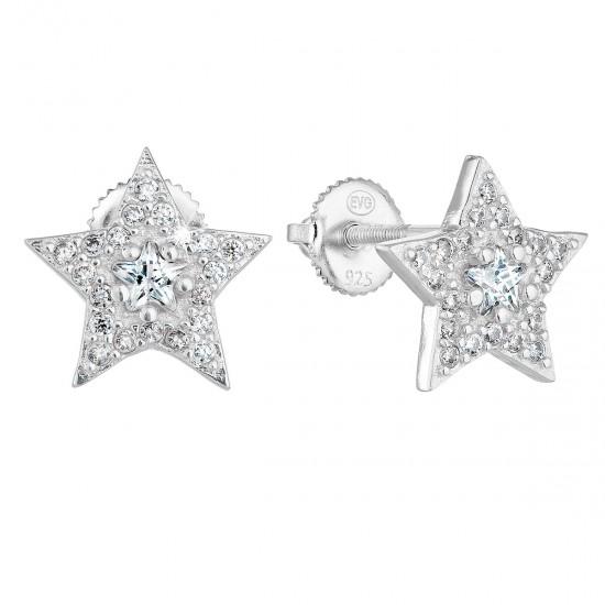 Stříbrné náušnice pecka se zirkonem bílá hvězdička 11282.1