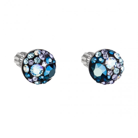 Stříbrné náušnice pecka s krystaly Swarovski modré kulaté 31336.3 blue style