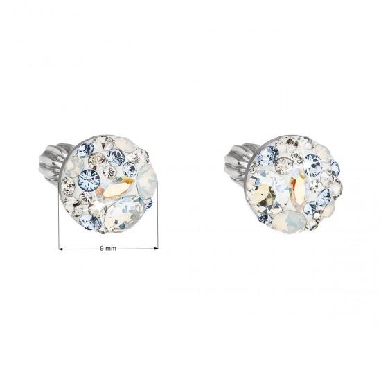 Stříbrné náušnice pecka s krystaly Swarovski modré kulaté 31336.3 light sapphire