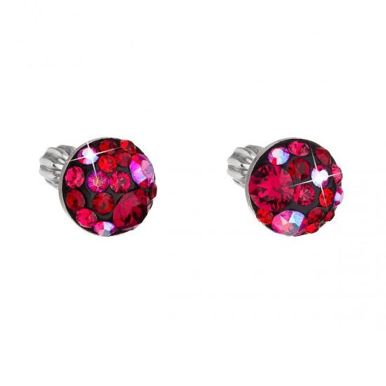 Stříbrné náušnice pecka s krystaly Swarovski červené kulaté 31336.3 cherry