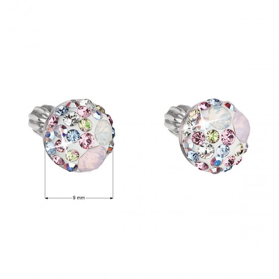 Stříbrné náušnice pecka s krystaly Swarovski růžové kulaté 31336.3 magic rose