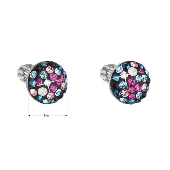 Stříbrné náušnice pecka s krystaly Swarovski mix barev kulaté 31336.4 galaxy