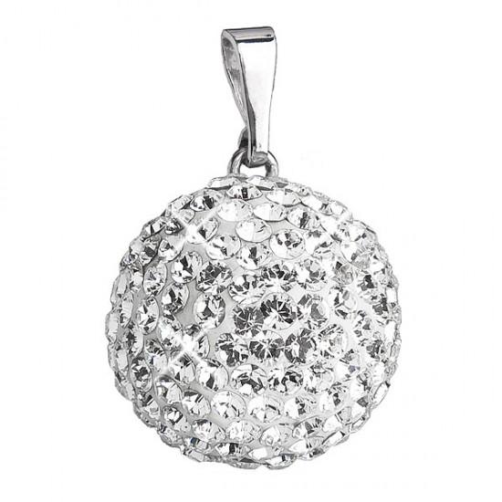 Stříbrný přívěsek s krystaly bílý kulatý 734081.1