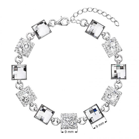 Stříbrný náramek se Swarovski krystaly bílý 33047.1