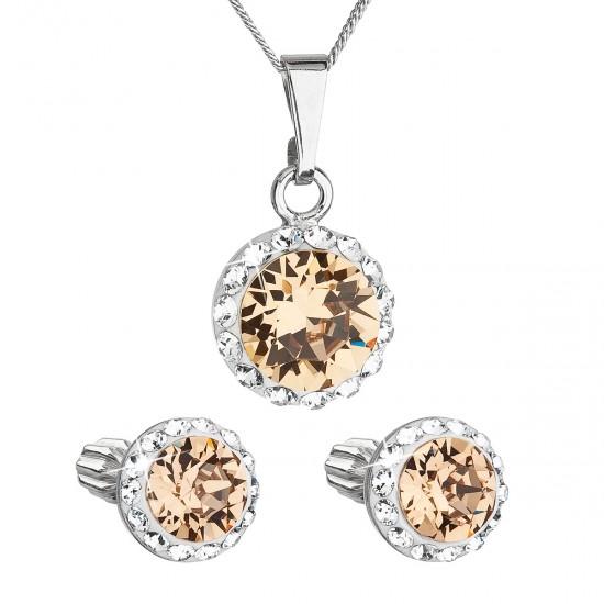 Sada šperků s krystaly Swarovski náušnice, řetízek a přívěsek hnědé oranžové kulaté 39352.3 light colorado topaz